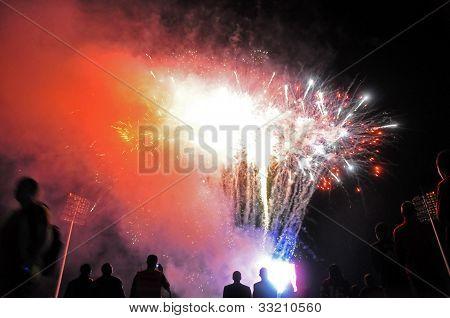 Fireworks at a stadium