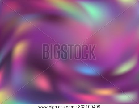Holographic Gradient Neon Vector Illustration. Abstract Neon Party Graphics Background. Hologram Col