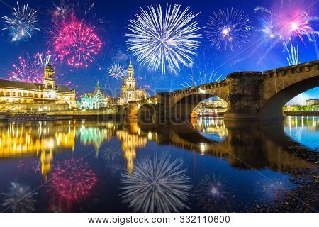 New Years firework display over the Elbe River in Dresden, Saxony. Germany