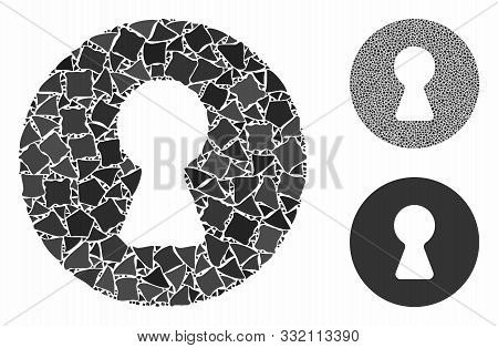 Inside Composition Of Ragged Pieces In Various Sizes And Color Tints, Based On Inside Icon. Vector U
