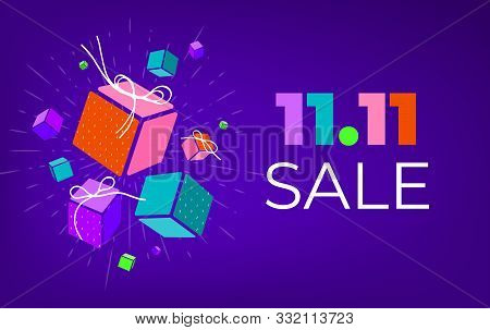 Set Of 3d Gift Boxes With Copy Space. Global Shopping Day. Present Box Icons For Shopping, November