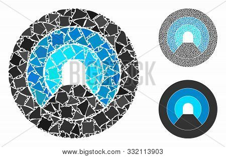 Pipe Tunnel Mosaic Of Irregular Parts In Variable Sizes And Color Hues, Based On Pipe Tunnel Icon. V