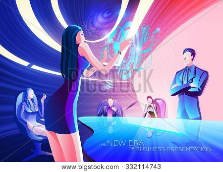 A Conceptual Illustration Of A Business Woman Is Using Hologram Interactive To Present Business Data