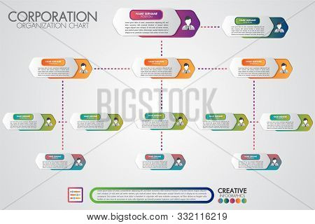 Corporate Organisation Chart Template With Business People Icons. Vector Modern Infographics And Sim