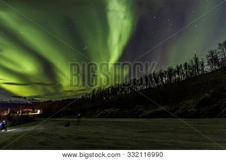Northern Lights Or Aurora Borealis Somewhere In Norway