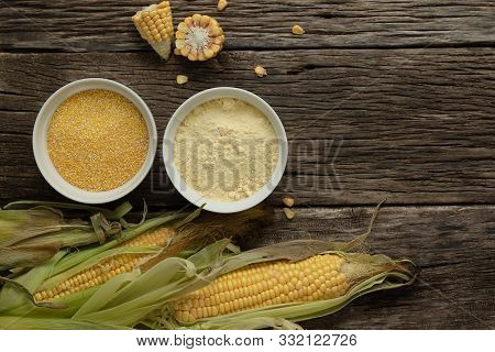 Polenta Corn Grits And Corn Flour In A Porcelain Bowl On A Wooden Table. Ears Of Corn And Pieces Of
