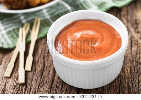 Homemade Fry Sauce Made Of Ketchup And Mayonnaise In Bowl (selective Focus, Focus One Third Into The