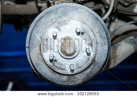 Close-up Of A Car Hub, Drum Brakes, Brake Pads, Brake Disc Prepared For Repair. Work At The Tire Wor