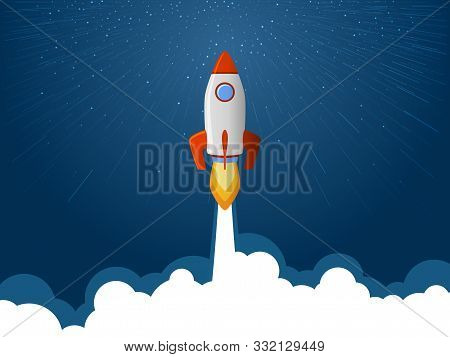 Rocket Spaceship Launch To Stars Into The Blue Sky Space. Fire Flame And Smoke Path. Business Start