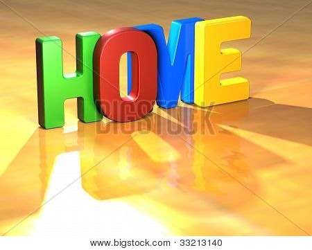 Word Home On Yellow Background