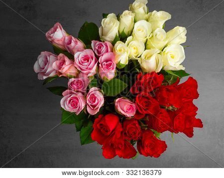 Bunch Of Opened Roses Of Different Colors