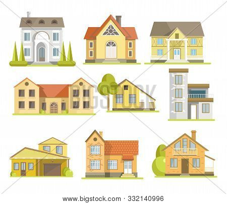 Houses And Suburban Residential Buildings Of Different Styles Set