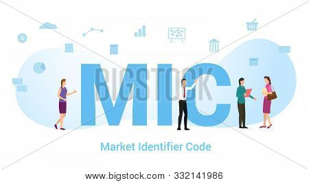 Mic Market Identifier Code Concept With Big Word Or Text And Team People With Modern Flat Style - Ve