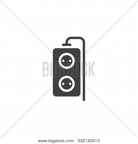 Double Plug Extension Cord Vector Icon. Filled Flat Sign For Mobile Concept And Web Design. Electric