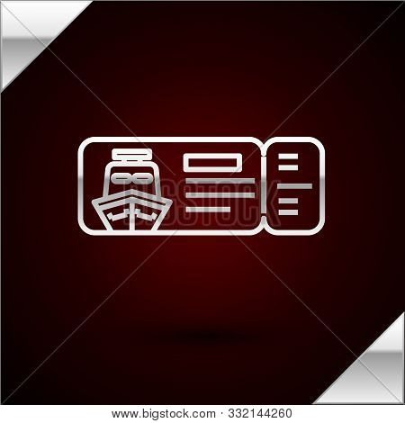 Silver Line Cruise Ticket For Traveling By Ship Icon Isolated On Dark Red Background. Travel By Crui