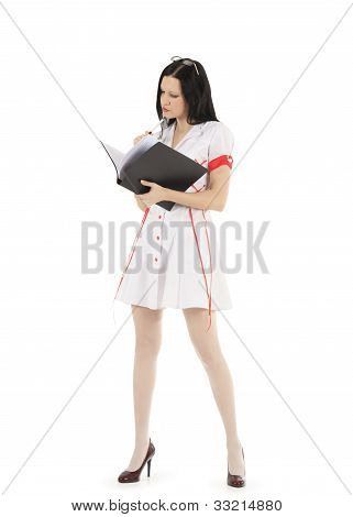 Female Doctor In Glasses With Clipboard