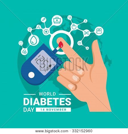 World Diabetes Day Banner With Hand Blood Are Glucose Testing And Circle Icon Medical Are Connect Li