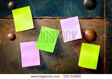 Metallic Noticeboard With Colorful Notice Paper, Copyspace
