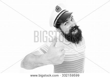 Summer Vacation. Hipster Beard Mustache Sailor Hat. Captain Of Cruise Liner. Brutal Seaman Isolated