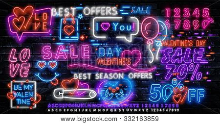 Valentines Day Is A Proposal, A Collection Of Neon-style Banner Templates. Set Neon Signs, Posters F