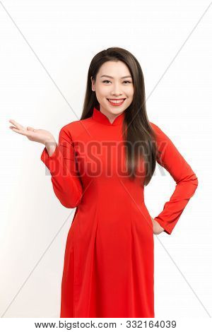 Vietnamese Women Dress Traditional Aodai And Introduce On White Background