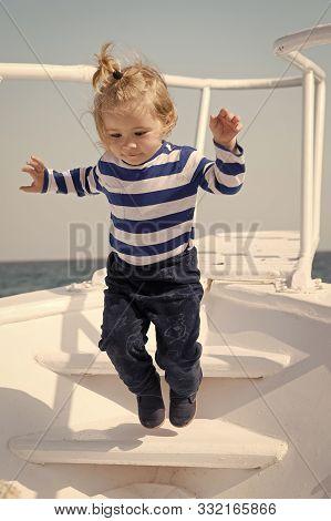 Memories Made Together Last Lifetime. Baby Boy Enjoy Vacation Sea Cruise Ship. Child Sailor. Boy Sai