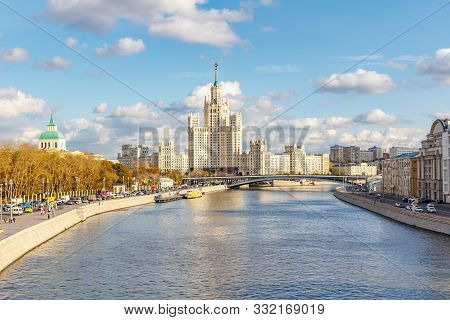 Moscow, Russia - October 08, 2019: View Of Moskva River Against Famous Stalin Skyscraper On Kotelnic