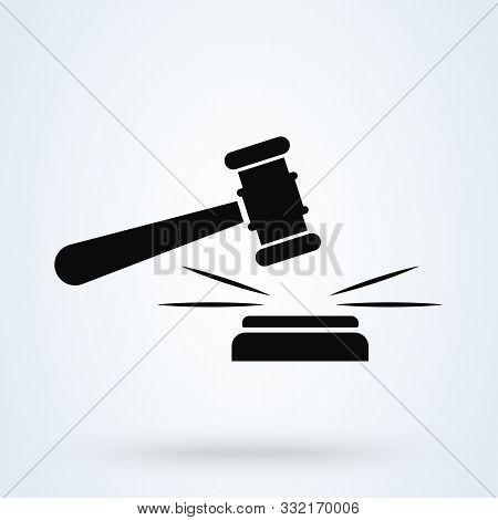 Judge Gavel Simple Vector Modern Icon Design Illustration