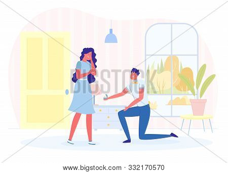 Man Making Marriage Proposal To Woman In Room And Giving Ring Flat Cartoon Vector Illustration. Happ