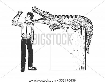 Optimistic Man Puts His Head In Jaws Of Crocodile Person Sketch Engraving Vector Illustration. T-shi