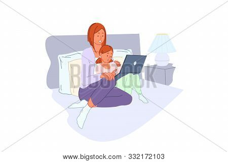 Family Leisure, Computer Training, Home Entertainment, Pc Learning Concept. Smiling People In Pajama