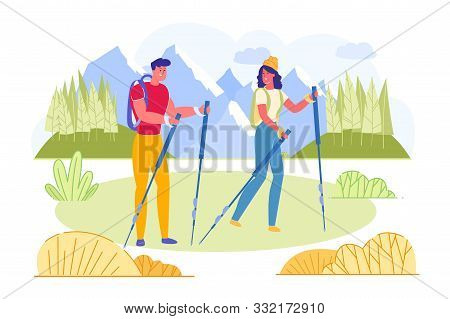Bright Poster Young Couple Engaged Nordic Walking. Man And Woman Are Wearing Sportswear And Are Hold
