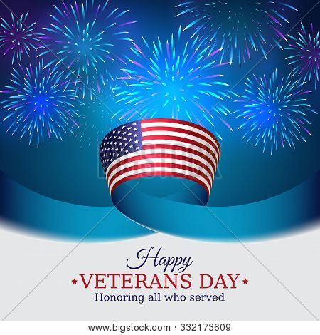 Happy Veterans Day Banner. Us National Day November 11. American Flag On Blue Sky Background With Fi