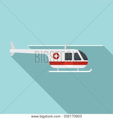 Sky Ambulance Helicopter Icon. Flat Illustration Of Sky Ambulance Helicopter Vector Icon For Web Des