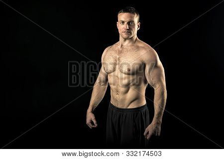 Bodybuilder Concept. Bodybuilder Man With Strong Body. Bodybuilder With Six Pack And Ab Muscle. Sexy