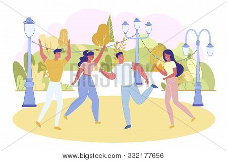 Friends Dancing Outdoor In Nature Flat Cartoon Vector Illustration. Women And Men Having Party With