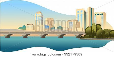 City Buildings, Panoramic Landscape Megalopolis On The Edge Of The Canal, Bright Sunny Day Vector Ho