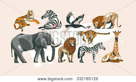 Hand Drawn Vector Abstract Cartoon Modern Graphic African Safari Collage Illustrations Art Collectio