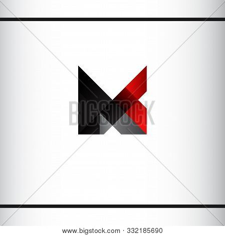 Initial Letters M And C. Other Possible Letters A, K, L, N, V, X. Black And Red Color. Geometric Sty