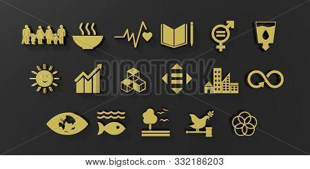 Sustainable Development Goals Set Seventeen Gold Icon Black Background. 3D Rendering