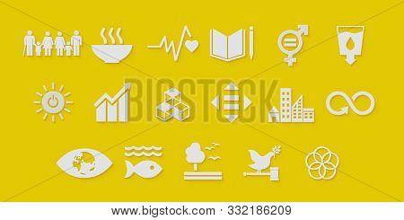 Sustainable Development Goals Set Seventeen White Icon Yellow Background. 3D Rendering