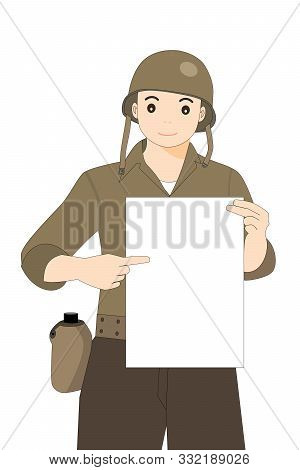 World War Two Soldier With Helmet Showing A Blank Signboard
