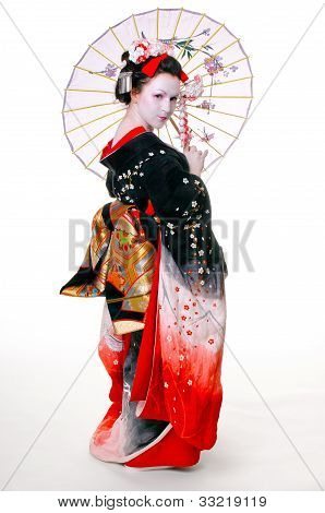 geisha with umbrella in kimono on an isolated white background poster