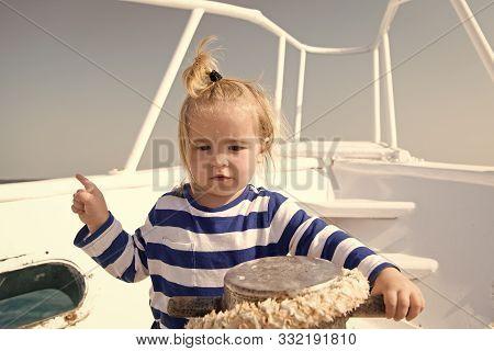 Entertainment Jobs. Baby Boy Enjoy Vacation Sea Cruise Ship. Child Sailor. Boy Sailor Travelling Sea