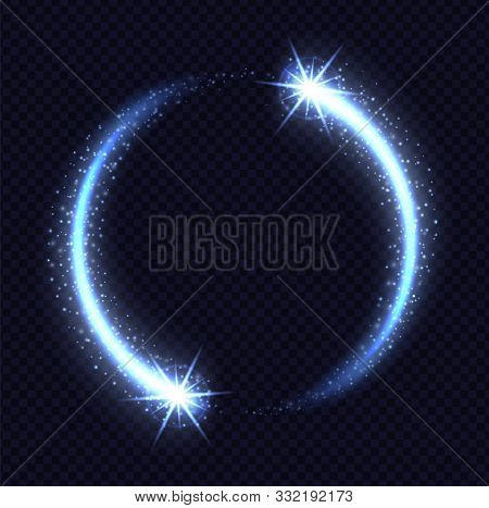 Magic Blue Circle Light Effect Isolated On Transparent Background. Luminescent Frozen Stardust With