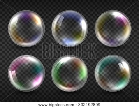 Realistic Soap Bubbles Isolated On Transparent Background. Vector Water Foam Bubbles