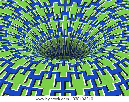 Rotating People Symbols Patterned Hole. Vector Optical Illusion Background.