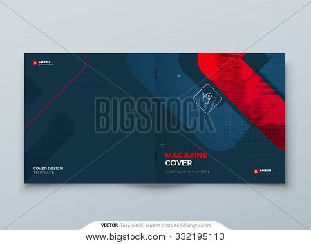 Square Brochure Design. Red Cover Template For Brochure, Report, Catalog, Magazine. Modern Brochure