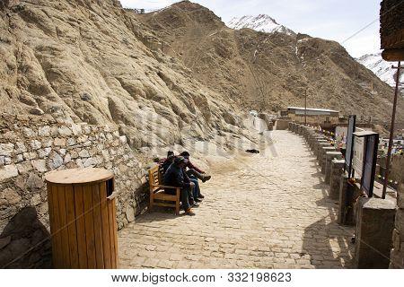 Jammu Kashmir, India - March 21 : Driver Indian And Tibetan Sitting Wait Traveler Passenger Visit At