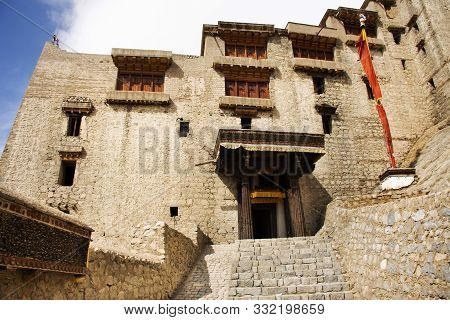 View Landscape Of Leh Stok Monastery Or Stok Gompa Palace At Leh Ladakh Village While Winter Season